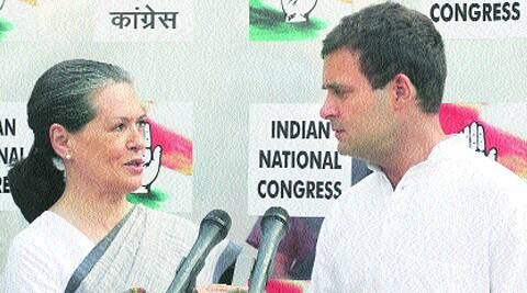 Congress president Sonia Gandhi and vice-president Rahul Gandhi at party office on Friday. ( Source: Express photo byAnil Sharma )