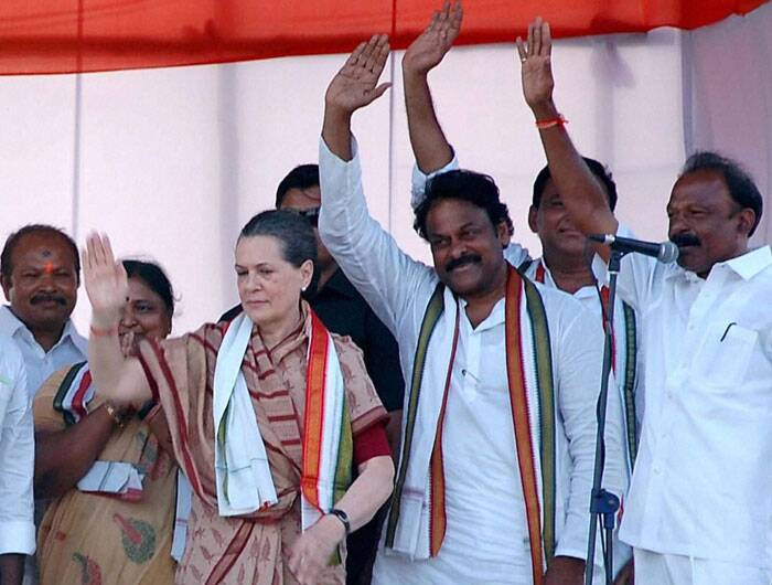 UPA Chairperson Sonia Gandhi at a public meeting for the Lok Sabha election 2014 in Guntur, Andhra Pradesh on Friday. (PTI)