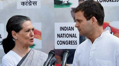 Congress President Sonia Gandhi with party Vice President Rahul Gandhi after poll results. (Source: PTI)