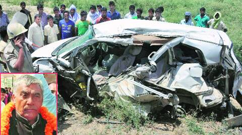 Mangled remains of the car which was hit by a train on Monday in Line Bazar, Jaunpur.