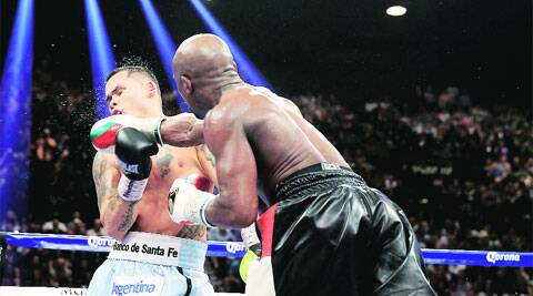Floyd Mayweather lands a punch on Argentina's Marcos Maidana during the WBC welterweight title fight in Las Vegas on Saturday night.  Maidana more than just survived the 12 rounds, losing only on a majority decision 117-111 to give Mayweather his 46th win in a row. (Reuters)