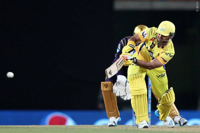 Chennai's number three Suresh Raina played an innings of 31 runs off 25 balls contributed the same in the 70 run partnership with Brendon McCullum. (Photo: BCCI/IPL)