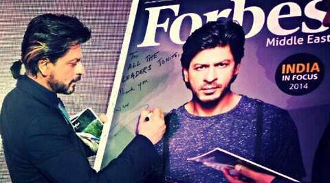 Shah Rukh Khan unveiled the latest issue of Forbes Middle East magazine.
