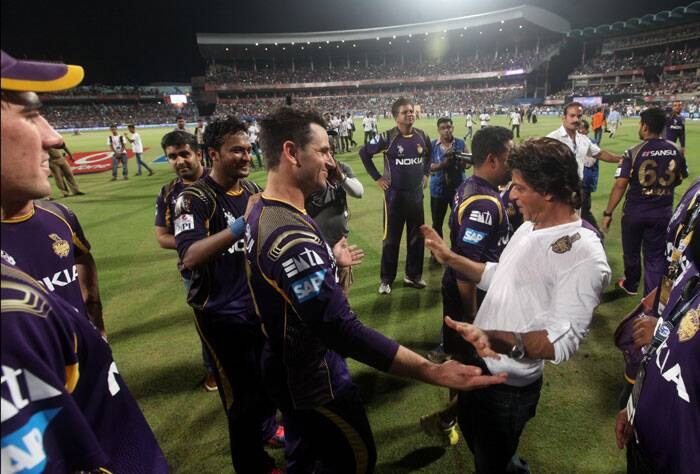 This looks like the 'Chamak Chalo' he did after KKR won the IPL back in 2012. The way his team is playing at the moment, he will definitely get another 'Chamak' moment (Source: Express Photo by Partha Paul)