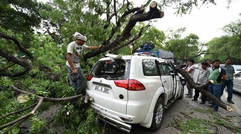 A tree branch fell on a car near Gymkhana Club after a storm accompanied by dark clouds in New Delhi on Friday. (PTI Photo by Manvender Vashist)