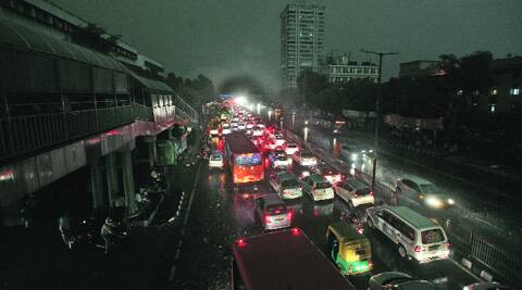 Traffic crawls during the evening rush-hour. (Source: Express photo by Ravi Kanojia)