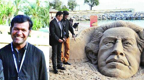 The sand artist Sudarsan Pattnaik; with Kamal Haasan at Cannes as he shows his sculpture of Satyajit Ray.