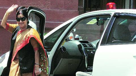 Sushma Swaraj outside South Block in New Delhi on Thursday. (Source: Express photo by Renuka Puri)