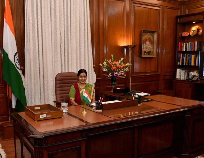 Minister of External Affairs Sushma Swaraj in her office at South Block. (Source: PTI)