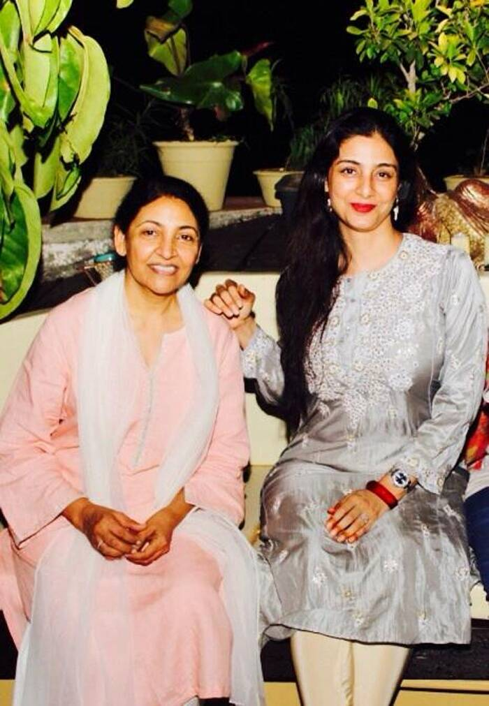 Tabu looked pretty in a silver kurta that she teamed with beige churidaar. She added colour to her look with red lips. Deepti Naval was dressed in a simple suit. (Photo: Twitter)