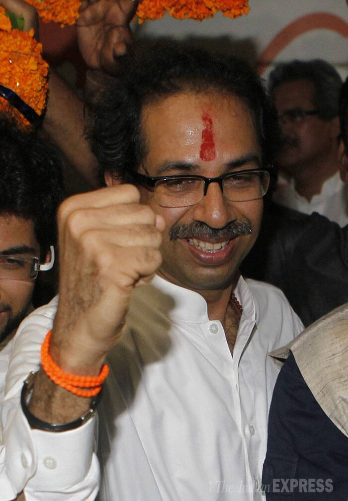"""Today is the golden day in the history of our country.We are witnessing only victory everywhere,"" Thackeray said while addressing a press conference at the party headquarters at Dadar in central Mumbai, where his wife Rashmi and son Aaditya were also present. (Source: Express photo by Prashant Nadkar)"