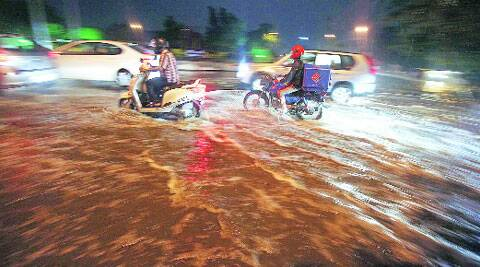 After heavy rain in Panchkula on Sunday.