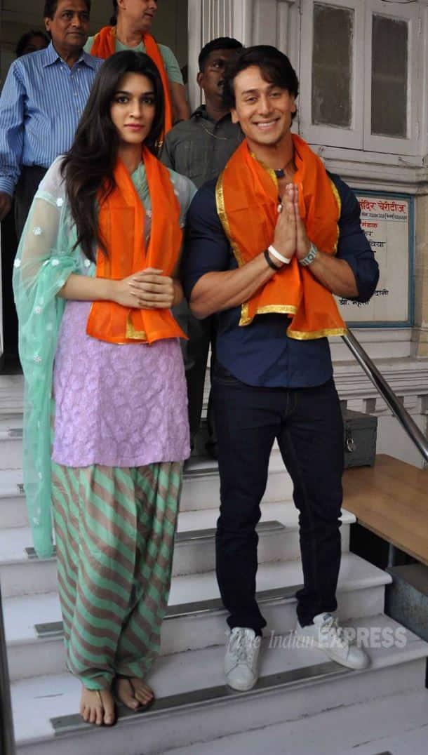 Tiger Shroff, Kriti Sanon offer prayers following the success of 'Heropanti'