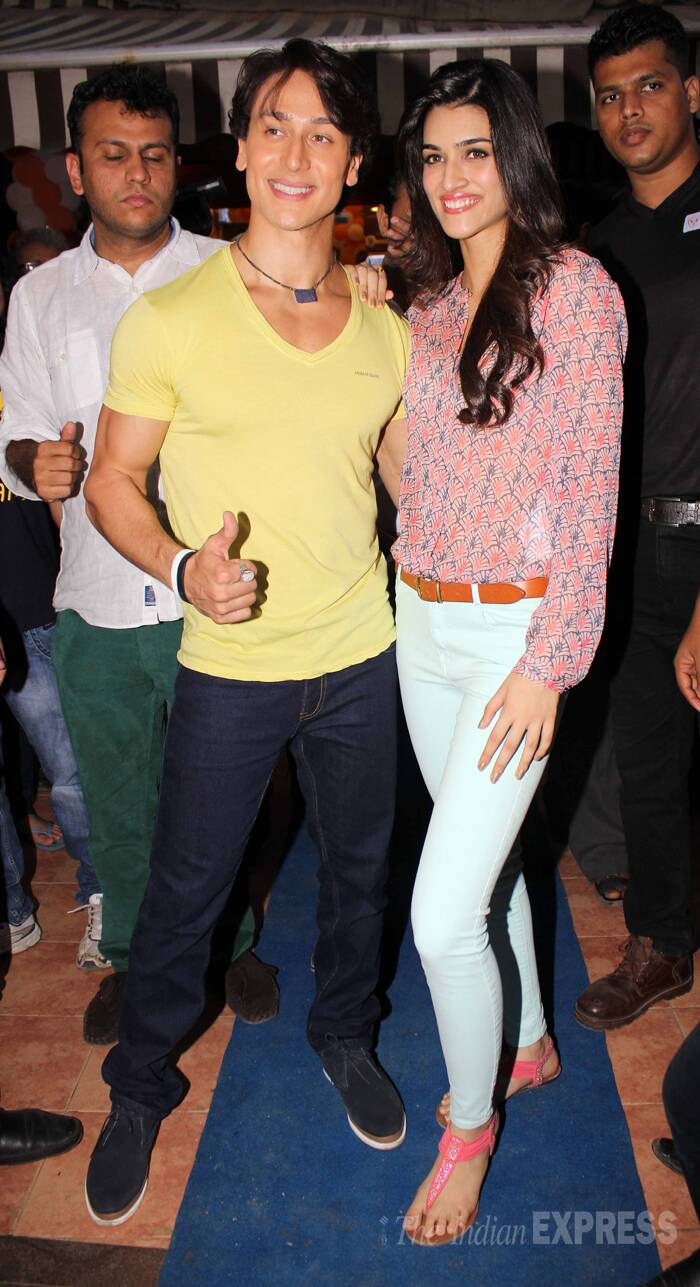 Tiger Shroff smiles for a picture along with his co-star Kriti Sanon. (Source: Varinder Chawla)