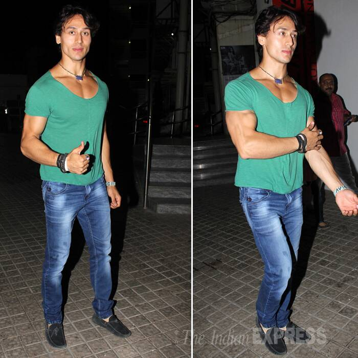 Jackie Shroff's son and newcomer Tiger was also spotted outside the movie hall. He was seen in a green T-shirt and jeans.  (Photo: Varinder Chawla)