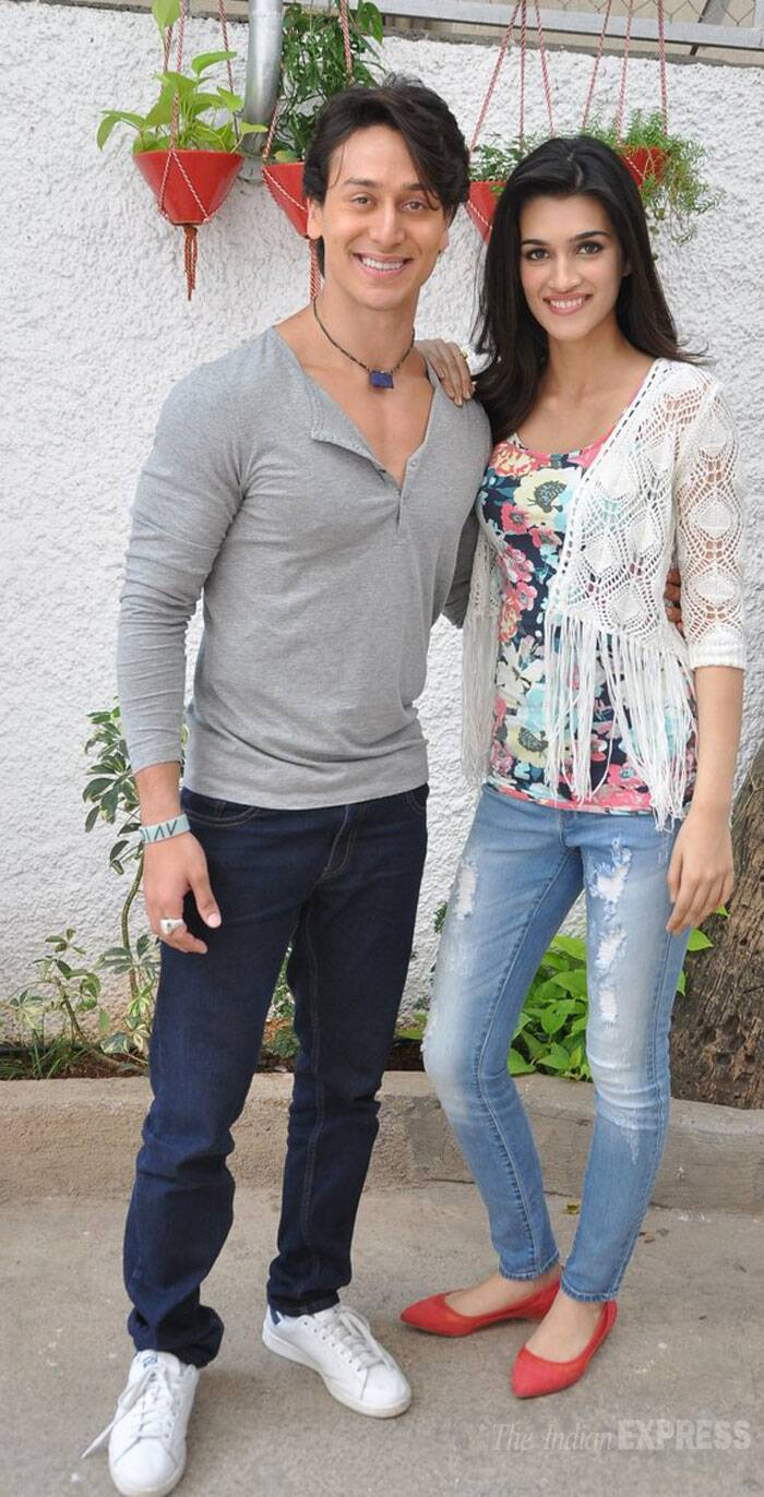 Jackie Shroff's son Tiger Shroff and his 'Heropanti' co-star Kriti Sanon visited a theatre to catch a special screening of their new release along with celebrities including Karishma Tanna and Ashmit Patel. (Source: Varinder Chawla)