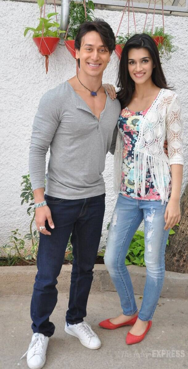 Tiger Shroff, Kriti watch their film, 'Heropanti'