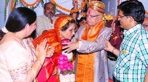 The senior Congress leader with his wife at his Lucknow residence on Thursday.