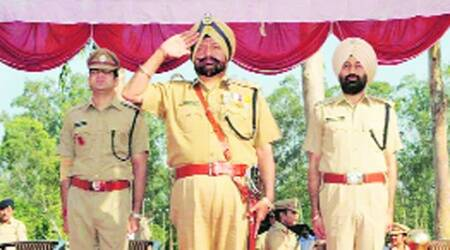 Outgoing DIG Ghumman during his farewell function in Chandigarh on Wednesday. (Express)