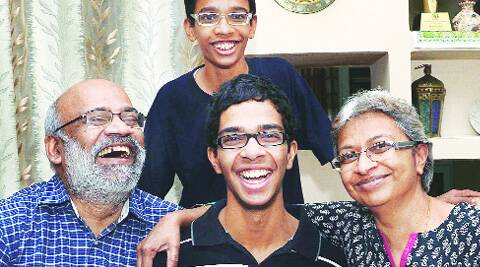 Siddhartha (centre) with family at their Sector 24 residence on Saturday. ( Source: Express photo by Kshitij Mohan )