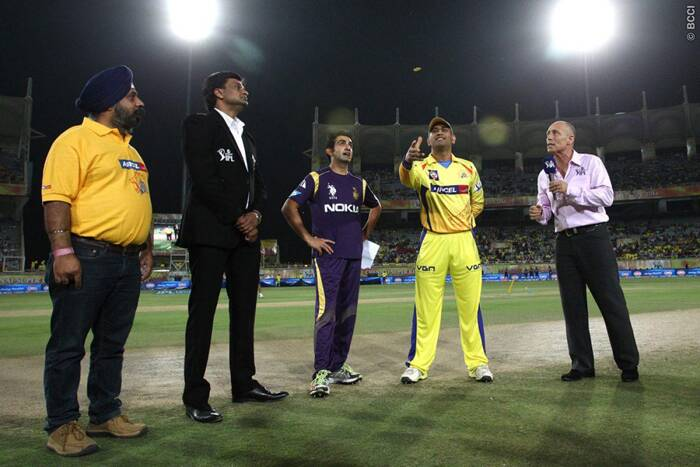 IPL returned to India on Friday. The first match was played between Chennai Super Kings and Kolkata Knight Riders at Ranchi. Seen here, Chennai captain MS Dhoni spins the coin at the toss as Kolkata skipper Gautam Gambhir looks on. (Photo: BCCI/IPL)