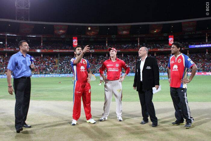 The toss was won by Royal Challengers Bangalore skipper Virat Kohli, who chose to field first against Kings XI Punjab. His decision backfired as Kings XI Punjab went on to post a huge total. (Photo: IPL/BCCI)
