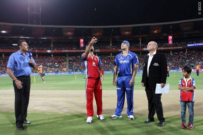 It was a royal battle in Bangalore as the Royal Challengers were up against Rajasthan Royals. Bangalore captain Virat Kohli won the toss and had no hesitation batting first. Rajasthan captain Shane Watson was pleased to bowl first. (BCCI/IPL)