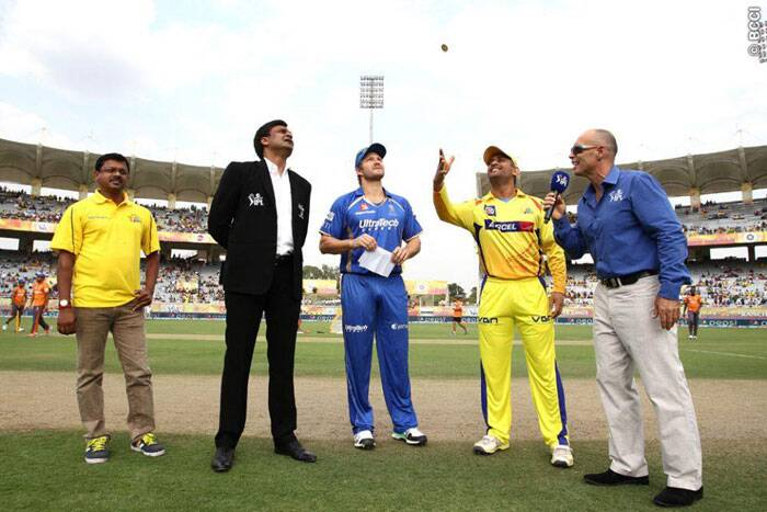 It was a perfect set up for an electrifying contest at the JSCA International Stadium Complex in Ranchi as the Chennai Super Kings locked horns with Rajasthan Royals on Tuesday. The toss was won by Rajasthan's captain Shane Watson who, without hesitation, opted to bat first. (Photo: IPL/BCCI)