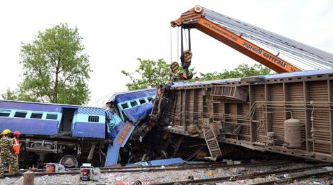 Rescue work in progress after Gorakhpur-bound Gorakhdham Express rammed into a goods train at Chureb station in Basti. (PTI)