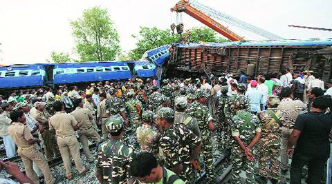 Rescue operation in progress at Chureb railway station in Basti on Monday.