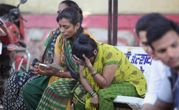 Kin of passengers waiting for the information of their relatives. (Express Photo: Prashant Nadkar)