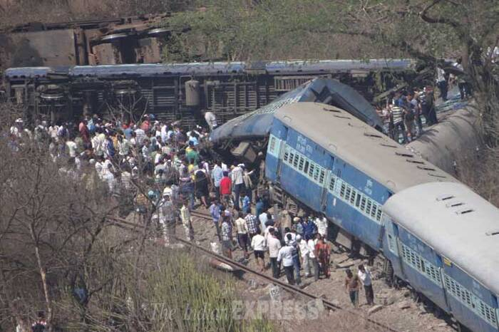 Seventeen people were killed and 120 injured when the engine and four bogies of a passenger train derailed on Konkan Railway route in Maharashtra's Raigad district on May 4. (Express Photo)