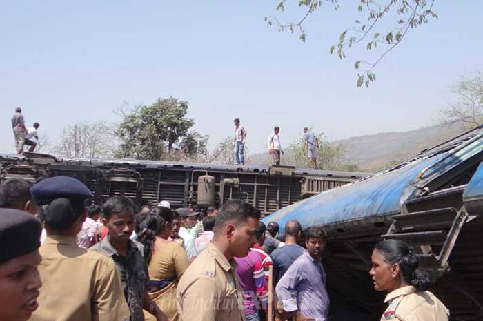 While two coaches derailed, two coaches were capsized after the derailment of the passenger train today and maximum casualty occured in capsized caoches, said a senior Railway Ministry official. (Express Photo)
