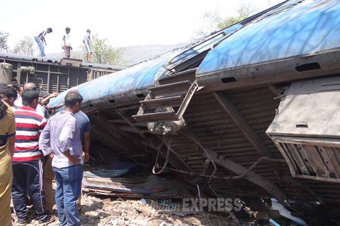 Following the mishap, the services on Konkan Railway route were suspended. (Express Photo)
