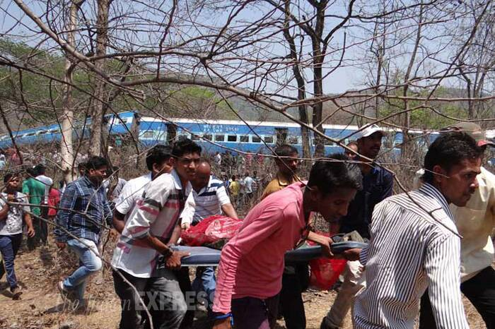 Coaches of the ill-fated Diwa-Sawantwadi passenger train, derailed between Nagothane and Roha railway stations, about 120 kms from Mumbai today, killing 17 passengers, were conventional coaches, which are prone to capsize in case of derailment. (Express Photo)