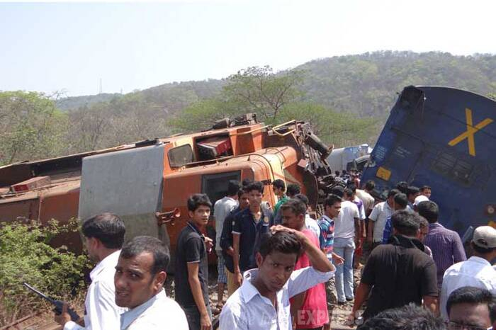 Train movement in the area was suspended as the derailed coaches and the rescue operation blocked an adjacent track as well. (Express Photo)