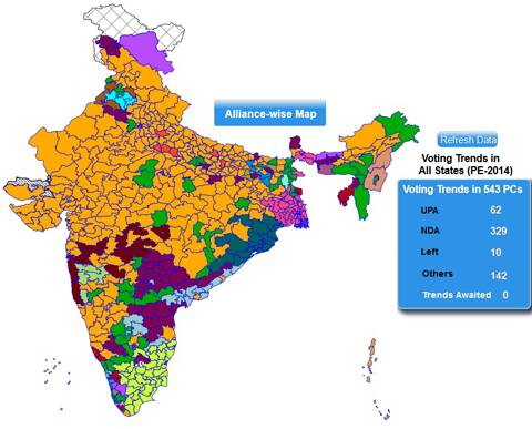 The map shows NDA's winning/leading seats.