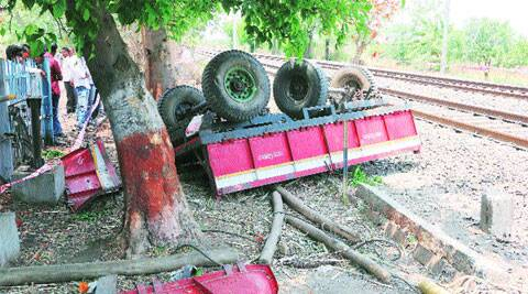 Mangled remains of the trolley on Saturday.