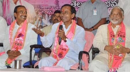 TRS President K.Chandra Sekhar Rao addressing a press conference at TG bhavan in Hyderabad on Friday. (Source: PTI)