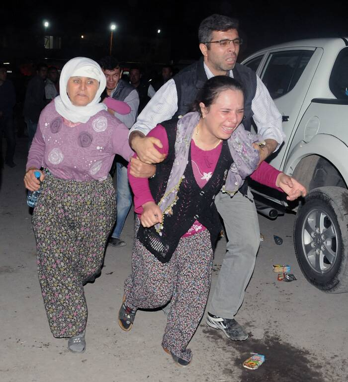 Earlier Yildiz said some of the workers were 420 meters (460 yards) deep inside the mine. News reports said the workers could not use lifts to get out of the mine because the explosion had caused a power cut. <br />Family members cry as they wait outside a hospital hours after an explosion and fire at a coal mine. (Source: AP)
