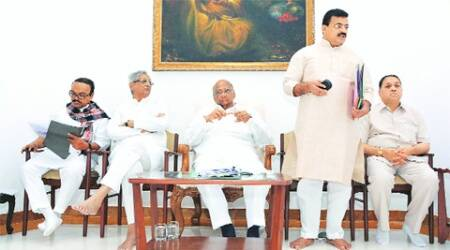 NCP chief Sharad Pawar and other party leaders in the meeting in Mumbai on Saturday.(Express)