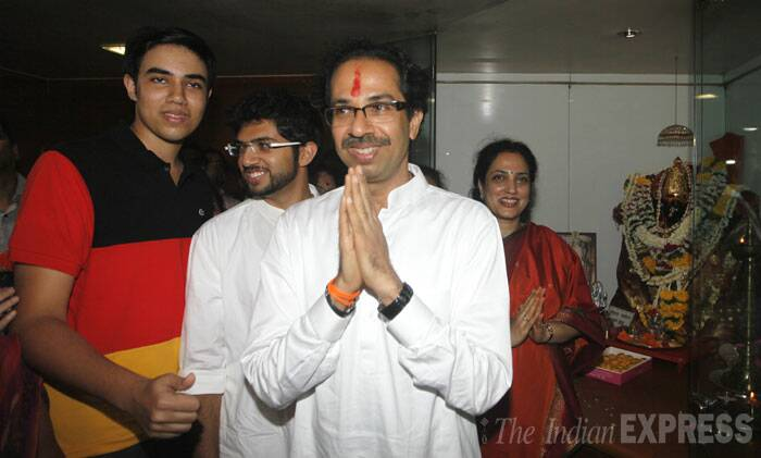 "Expressing confidence that NDA will provide a strong government at the Centre, Shiv Sena chief Uddhav Thackeray on Friday said his party had supported BJP during its ""difficult days"" and as its situation is improving it will not ""do anything wrong to us."" <br /> Shiv Sena chief Uddhav Thackeray along with his family during a press conference at Sena Bhavan in Dadar, Mumbai on Friday. (Source: Express photo by Prashant Nadkar)"