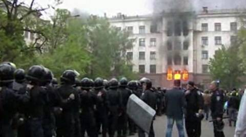This image made from AP video shows a building on fire in Odessa, Ukraine. (AP)