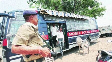 Mobile police station in Industrial Area. (Jaipal Singh)