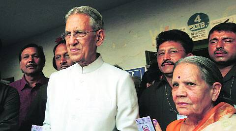 Governor B L Joshi along with his wife after casting their vote in Lucknow Wednesday. Vishal Srivastav