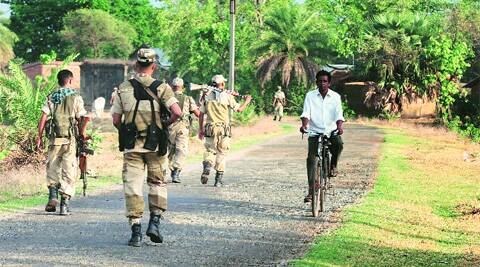 Central security forces in Purulia on Tuesday. Partha Paul