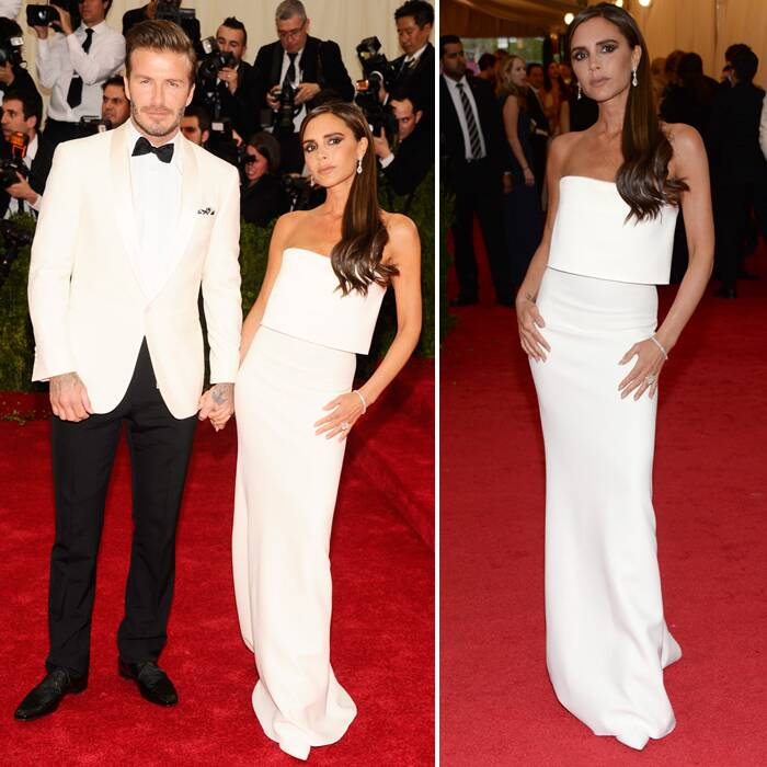 Former Spice girl Victoria Beckham looked elegant in a white slinky number that highlighted her slender frame. Husband David Beckham matched his stylish wife in a Ralph Lauren suit.  (AP)