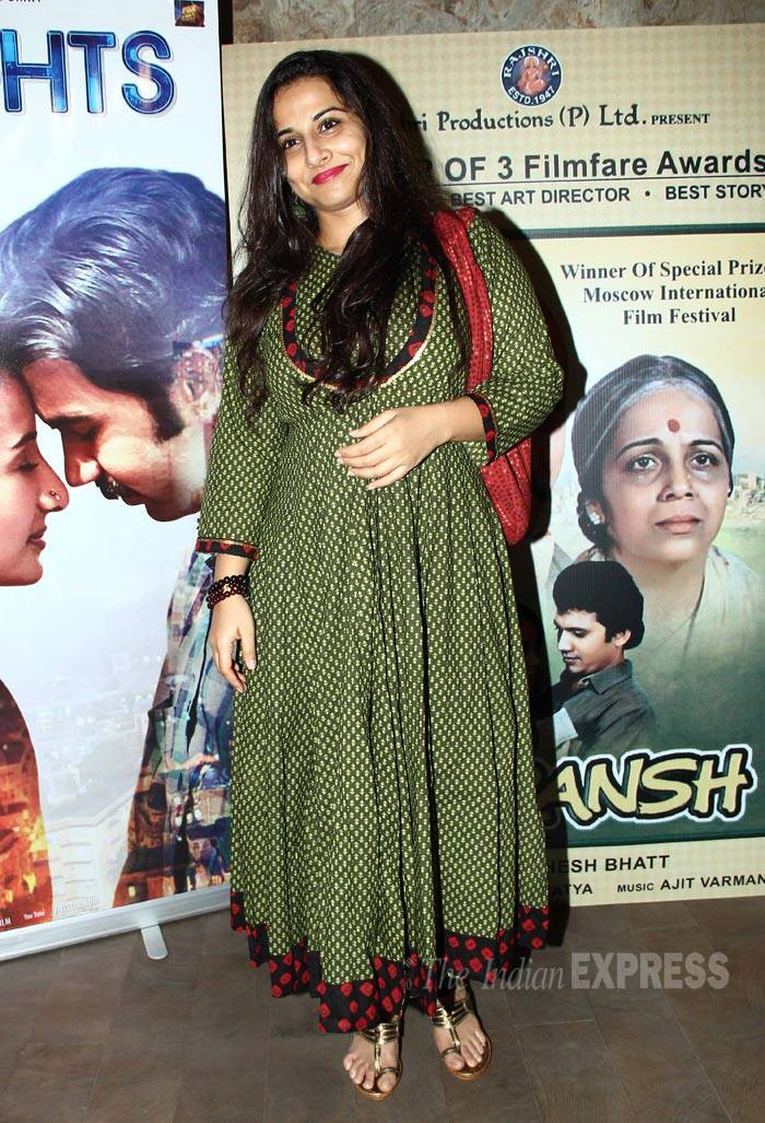 Vidya Balan was seen in a green anrkali suit. (Source: Varinder Chawla)
