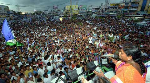 YSR Congress Chief YS Vijayamma addressing during an election rally in Vizag on Saturday. (PTI)