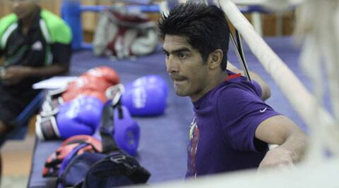Vijender Singh will face a tought test at the 2014 Commonwealth Games in Glasgow. (IE File Photo: Kamleshwar Singh)